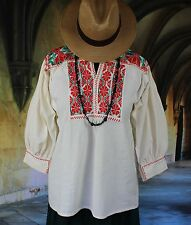 Green, Red & Cream Hand Embroidered Blouse Ejutla Mexico, Hippie, Boho, Cowgirl