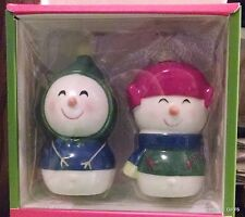 "SNOWMAN AND SNOW WOMAN COUPLE SALT & PEPPER SHAKERS 4"" NEW IN BOX ADORABLE"