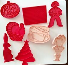 TUPPERWARE Holiday Cookie Cutters Red Plastic Pink Christmas Birthday Halloween