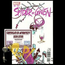 SPIDER-GWEN #1 Young Variant Signed by JASON LATOUR with COA Marvel Comics NM!