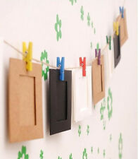 Mini Photo Hanging Paper Frame Album Picture Display Wooden Clips MW