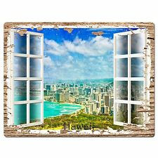 PP0609 French Window Hawaii Chic Plate Sign Shop Store Cafe Home Room Decor