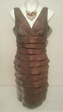 LONDON TIMES Women's Sleeveless Shimmering Brown Layered Dress Size 10