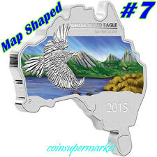 2015 Australia Map Shaped Series Wedge-tailed Eagle 1oz Silver Coin COA & Box !!