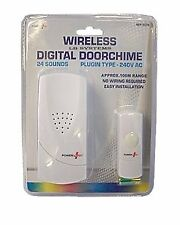 WIRE FREE WIRELESS DOOR CHIME SET KIT 24 TUNES SOUNDS BELL PLUGIN TYPE 240V AC