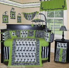 Baby Boutique - Lime Zebra - 15 pcs Nursery Crib Bedding Set