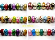 100pcs Mixed Beautiful Acrylic Big Hole Silver Core Beads Fit European Bracelet
