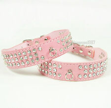 Bling 3 Rows Diamante Rhinestone Dog Cat Collar Suede Leather Pet Collar Pink
