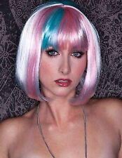 Women Halloween Blonde Colorful Multicolor Fancy Costume Party Bob Hair Wig