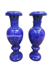 "24"" Lot 2 Pcs Marble Flower Vase Pot Rare Lapis Gem Mosaic Inlay Decor Gift H570"