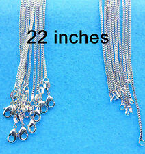 "Wholesale 22""10PCS Fashion Jewelry 925 Silver Box Chain Necklaces For Pendants"