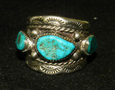 Fantastic Navajo Signed ECB Turquoise & Sterling Silver RIng Sz 8 - BEGAY