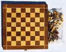 "12"" Wooden Chess Set Folding Board Box Wood with Fine Crafted Pieces & Free Gift"