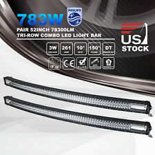 "2pcs 52"" Inch 783W PHILIPS Curved LED Light Bar 7D Combo Work Driving 12V24V"