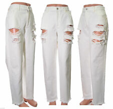 Marques Almeida Denim Jeans boyfriend winter white super ripped distress Size 14