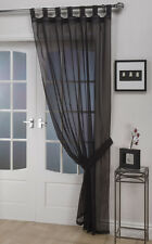 Plain Voile Tab Top Curtain Panel – FREE Tieback - White Cream All Colours – Net