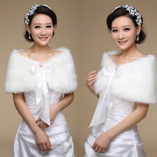 Bridal Shawl Faux Fur Wedding Wraps Jacket Stole Cape Shrug Bolero Off White New