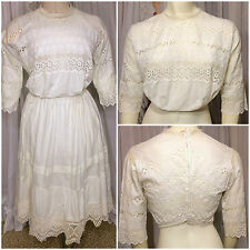1910s Edwardian Handmade Crochet and Eyelet Lace Sheer Corset Cover Crop Top