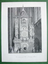 ASTRONOMICAL CLOCK Strasbourg Cathedral - 1860s Original Antique Print