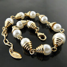A566 GENUINE REAL 18K YELLOW G/F GOLD LADIES VINTAGE PEARL BEAD BRACELET BANGLE