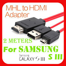 2m Micro USB MHL to HDMI HDTV Adapter Cable for Samsung Galaxy S3 i9300 & Note 2