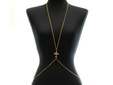 Gold Cross Crystal Body Chain