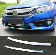 FIT FOR 2016 17 CIVIC CHROME FRONT LOWER BUMPER HOOD TRIM GRILL COVER PROTECTOR