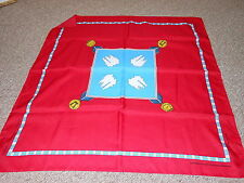 Vintage Red and Blue Korean War Memorial Scarf Souvenir