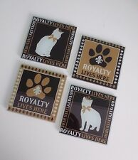 """Rare NEW Mod Paws """"Royalty Lives Here"""" Set of 4 Glass Coasters - FOR CAT LOVERS!"""