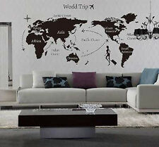 World Trip Travel Map Wall Stickers Art Vinyl Decal Home Decor Wallpaper Mural Q