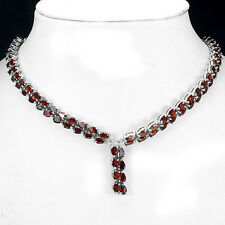Sterling Silver 925 Genuine Pear Faceted Garnet Two Row Necklace 21.5 Inch