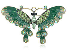 GB Antique ChicDark Green Enamel Peridot Crystal Butterfly Pin Brooch