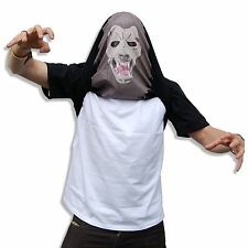 FUNNY NOVELTY FLIPPIN' FRIGHTENING BLACK WEREWOLF FLIP OVER T SHIRT. PARTY FUN!