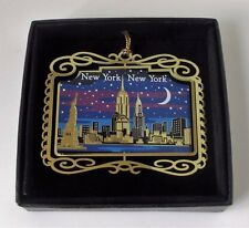 New York City Skyline at Night Christmas Ornament Black Leatherette Gift Box