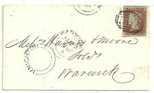 * 1849 NEWTON ABBOT =567= NUMERAL 4 MGN  WARWICK 1d IMPERF STAMP & UDC KNIGHTON