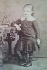 ANTIQUE~PRE 1889~CDV STUDIO PHOTO~YOUNG GIRL BY TABLE~G.H. ALDRICH~LITTLETON NH
