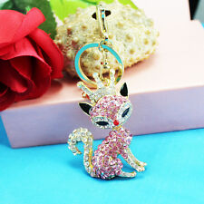 fox Keychain Rhinestone Crystal Keyring Key Ring Chain Bag Charm Pendant Gift