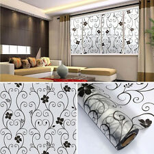 Sweet 45x100cm Frosted Cover Glass Window Black Floral Flower Sticker Film Home