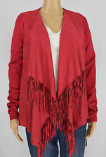INC International Concepts Womens Red Fringe Cardigan Sweater Top Size M