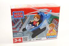 MEGA BLOKS 3 pc Set 357 Blok Town Helicopter pilot Block town city Rare Toddler!