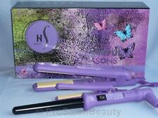 HERSTYLER COLORFUL SEASON SET HAIR STRAIGHTENER FLAT/ CURLING IRON W/MINI PURPLE
