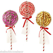 Lollipop Christmas tree decoration Set of 3 10 in sp 3416074 NEW RAZ wrapped