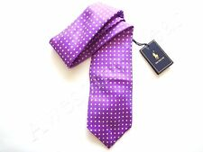 New Ralph Lauren Polo Italy 100% Silk Handmade Lavender Purple Polka Dot Tie