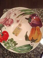 "Ceramica Cuore Large Pasta Salad Serving Bowl Italian Pottery 12.5"" Vegetables"