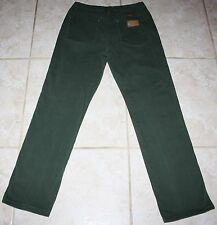 Women's Wrangler Green Denim Jeans Size 7/8 X 34 Stretch Measures 29X30