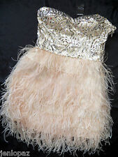 NWT Bebe beige silver sequin strapless isis feather bustier top dress M medium