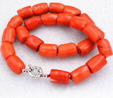 """Genuine Natural High Quality Orange Coral Gemstone Princess Necklace18""""AAA"""