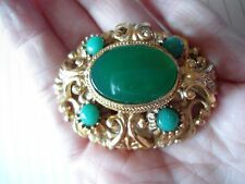 VINTAGE LARGE HEAVILY GOLD PLATED FAUX TURQUOISE 3D BROOCH SIGNED A530 GIFT