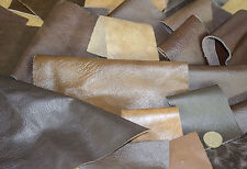 Italian REAL Leather COWHIDE OFFCUTS dark bronze brown 90g 0.8/1.1 MM THICK