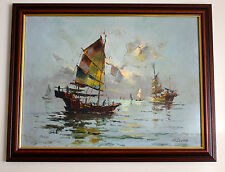H Leung Original Palet Knife Oil Painting Seascape ( Junk) from Hong Kong